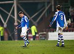 Hearts v St Johnstone.....05.03.13      SPL.Paddy Cregg trudges off at full time.Picture by Graeme Hart..Copyright Perthshire Picture Agency.Tel: 01738 623350  Mobile: 07990 594431