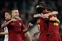 Calcio, Serie A: AS Roma - Torino Roma, stadio Olimpico, 9 marzo, 2018.<br /> Roma's captain Daniele De Rossi celebrates after scoring with his teammates during the Italian Serie A football match between AS Roma and Torino at Rome's Olympic stadium, 9 marzo, 2018.<br /> UPDATE IMAGES PRESS/Isabella Bonotto
