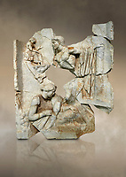 Roman Sebasteion relief  sculpture of Orestes At Delphi Aphrodisias Museum, Aphrodisias, Turkey.  Against an art background.<br /> <br /> Orestes who has sought sanctuary at Delphi after murdering his mother, leaves Apollo's shrine on his way to stand trial in Athens, The hero steps gingerly over sleeping Fury; he brandishes a sword and still hold onto Apollo's tripod. The Fury has a snake and a burning torch with which she torments male factors. A small local nymph sits above on a rocky outcrop of Delphi's Mt Parnossos