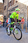 Nathan Haas (AUS) Team Cannondale-Garmin makes his way to sign on before the start of the 2015 Strade Bianche Eroica Pro cycle race 200km over the white gravel roads from San Gimignano to Siena, Tuscany, Italy. 7th March 2015<br /> Photo: Eoin Clarke www.newsfile.ie