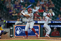 Diego Muniz (1) of the Oklahoma Sooners at bat against the LSU Tigers in game seven of the 2020 Shriners Hospitals for Children College Classic at Minute Maid Park on March 1, 2020 in Houston, Texas. The Sooners defeated the Tigers 1-0. (Brian Westerholt/Four Seam Images)