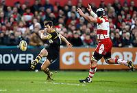 Photo: Richard Lane/Richard Lane Photography. Gloucester Rugby v London Wasps. Aviva Premiership. 26/12/2011. Wasps' Hugo Southwell kicks.