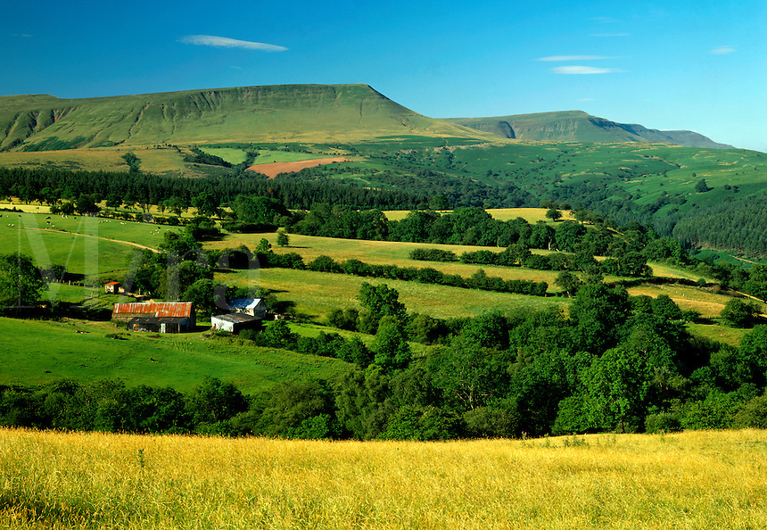 .Farm at Cusop, below Hay Bluff, on the Welsh Borders. Hay Bluff and the other summits of the Black Mountains look out across Hay-on-Wye and the Wye Valley...