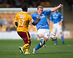 Motherwell v St Johnstone...30.08.14  SPFL<br /> Scott Brown tackles Zaine Francis-Angol<br /> Picture by Graeme Hart.<br /> Copyright Perthshire Picture Agency<br /> Tel: 01738 623350  Mobile: 07990 594431