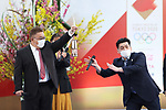Mikio Date and Takeshi Tomizawa participates in <br /> The Grand Start Ceremony for the Tokyo 2020 Olympic Torch Relay at Fukushima National Training Center J-Village on March 25, 2021, in Fukushima Prefecture, Japan.<br /> The Torch Relay will last 121 days and visit all of Japan's 47 prefectures. (Photo by Naoki Morita/AFLO SPORT)