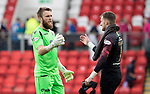 St Johnstone v Livingston….10.08.19      McDiarmid Park     SPFL <br />Zander Clark pictured at full time with Ross Stewart<br />Picture by Graeme Hart. <br />Copyright Perthshire Picture Agency<br />Tel: 01738 623350  Mobile: 07990 594431