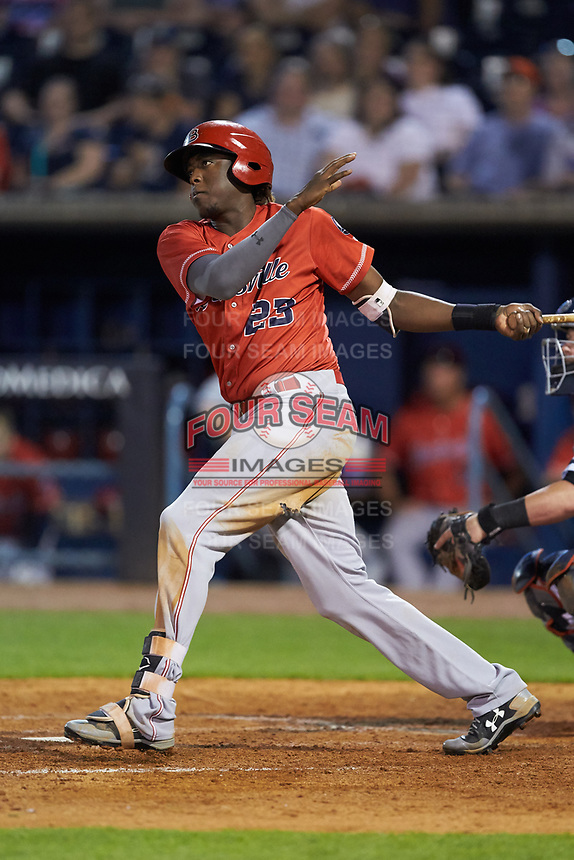Gabriel Guerrero (23) of the Louisville Bats follows through on his swing against the Toledo Mud Hens at Fifth Third Field on June 16, 2018 in Toledo, Ohio. The Mud Hens defeated the Bats 7-4.  (Brian Westerholt/Four Seam Images)