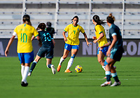 ORLANDO, FL - FEBRUARY 18: Rafaelle #4 of Brazil dribbles during a game between Argentina and Brazil at Exploria Stadium on February 18, 2021 in Orlando, Florida.