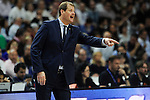 Zalgiris Kaunas´s coach Gintaras Krapikas during 2014-15 Euroleague Basketball match between Real Madrid and Zalgiris Kaunas at Palacio de los Deportes stadium in Madrid, Spain. April 10, 2015. (ALTERPHOTOS/Luis Fernandez)