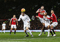 Gylfi Sigurosson of Swansea City scores his goal to make it 1-1 during the Barclays Premier League match between Manchester United and Swansea City played at Old Trafford, Manchester on January 2nd 2016