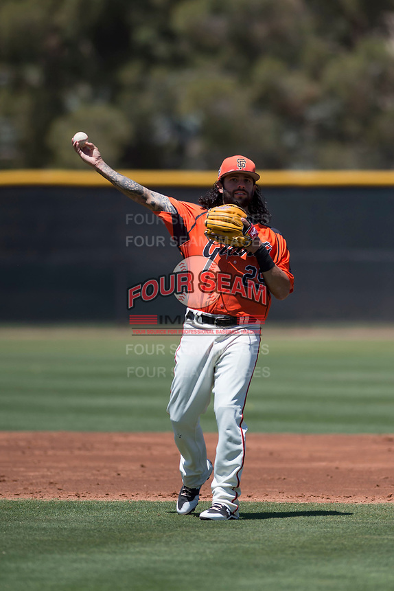 San Francisco Giants Orange shortstop CJ Hinojosa (29) makes a throw to first base in a rehab appearance during an Extended Spring Training game against the Seattle Mariners at the San Francisco Giants Training Complex on May 28, 2018 in Scottsdale, Arizona. (Zachary Lucy/Four Seam Images)