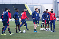 WIENER NEUSTADT, AUSTRIA - MARCH 25: Steve Tashjia speaks to players before training during a game between Jamaica and USMNT at Stadion Wiener Neustadt on March 25, 2021 in Wiener Neustadt, Austria.