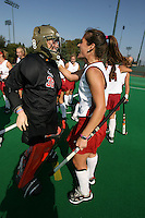 6 November 2007: Stanford Cardinal Madison Bell (32) and Hillary Braun during Stanford's 1-0 win against the Lock Haven Lady Eagles in an NCAA play-in game to advance to the NCAA tournament at the Varsity Field Hockey Turf in Stanford, CA.