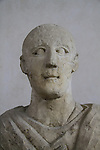Funerary bust of a man from Samaria, Roman period, 3rd century AD, limestone, on display at the Rockefeller Museum