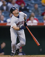Dustan Mohr of the Minnesota Twins bats during a 2002 MLB season game against the Los Angeles Angels at Angel Stadium, in Anaheim, California. (Larry Goren/Four Seam Images)