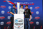 Colton Herta, Harding Steinbrenner Racing Honda with team owners Mike Harding and George Michael Steinbrenner, podium