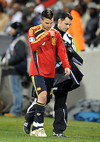 Cesc Fabregas of Spain looks dejected as he leaves the field after being substituted. USA defeated Spain 2-0 during the semi-finals of the FIFA Confederations Cup at Free State Stadium in Manguang/Bloemfontein, South Africa on June 24, 2009..