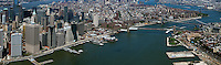 aerial photograph Lower Manhattan, East River, Brooklyn and Williamsburg Bridges, New York City