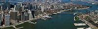 aerial photograph Lower Manhattan, East River, Brooklyn and Williamsburg Bridges, New York City