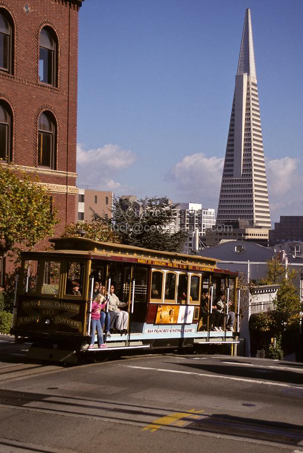 San Francisco, California - California Street Cable Car and Transamerica Building.