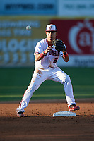 Potomac Nationals second baseman Bryan Mejia (2) waits for a throw during the first game of a doubleheader against the Salem Red Sox on May 13, 2017 at G. Richard Pfitzner Stadium in Woodbridge, Virginia.  Potomac defeated Salem 6-0.  (Mike Janes/Four Seam Images)