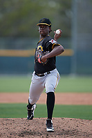 Pittsburgh Pirates Deivy Mendez (95) during a minor league Spring Training game against the Philadelphia Phillies on March 13, 2019 at Pirate City in Bradenton, Florida.  (Mike Janes/Four Seam Images)