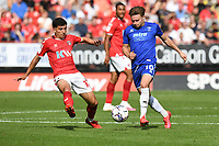 Alfie May of Cheltenham FC and Albie Morgan of Charlton Athletic FC during Charlton Athletic vs Cheltenham Town, Sky Bet EFL League 1 Football at The Valley on 11th September 2021