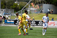 Riley Bidois of the Wellington Phoenix competes for the ball with Justin Gulley of Team Wellington during the ISPS Handa Men's Premiership - Wellington Phoenix v Team Wellington at Fraser Park, Wellington on Saturday 14 November 2020.<br /> Copyright photo: Masanori Udagawa /  www.photosport.nz