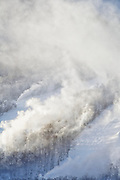 Snow making at Cannon Mountains in Franconia Notch State Park of the New Hampshire White Mountains.