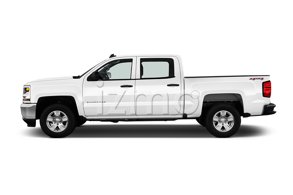 Car Driver side profile view of a 2018 Chevrolet Silverado-1500 1LS-Crew-Cab-Short-Box 4 Door Pickup Side View