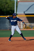 AZL Brewers Blue second baseman Orveo Saint (30) throws to first base during an Arizona League game against the AZL Royals at Surprise Stadium on June 18, 2019 in Surprise, Arizona. AZL Royals defeated AZL Brewers Blue 12-7. (Zachary Lucy/Four Seam Images)