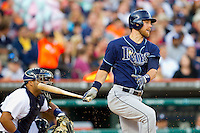 Ben Zobrist (18) of the Tampa Bay Rays follows through on his swing against the Detroit Tigers at Comerica Park on June 4, 2013 in Detroit, Michigan.  The Tigers defeated the Rays 10-1.  Brian Westerholt/Four Seam Images