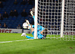 Rangers v St Johnstone....28.10.14   Scottish League Cup Quarter Final at Ibrox<br /> Steve Simonsen collides with the post saving Brian Graham's header. <br /> Picture by Graeme Hart.<br /> Copyright Perthshire Picture Agency<br /> Tel: 01738 623350  Mobile: 07990 594431