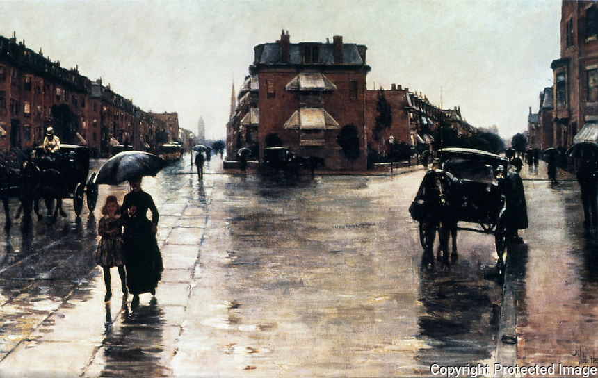 Boston:  Boston Street Scene 1885.  Painting by Childe Hassam.  Reference only.