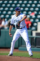 Columbus Clippers pitcher Joe Martinez #22 during a game against the Toledo Mudhens on April 22, 2013 at Huntington Park in Columbus, Ohio.  Columbus defeated Toledo 3-0.  (Mike Janes/Four Seam Images)