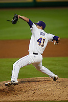 LSU Tigers pitcher Nick Goody #41 delivers against the Mississippi State Bulldogs during the NCAA baseball game on March 16, 2012 at Alex Box Stadium in Baton Rouge, Louisiana. LSU defeated Mississippi State 3-2 in 10 innings. (Andrew Woolley / Four Seam Images)
