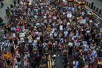 """NEW YORK, NY - JULY 26: Huge crowd of protesters march in downtown New York, NY on July 26, 2020. Hundreds of New York activists participated in a march to condemn what they see as an excessive focus of the federal authorities in Portland, Oregon and continue to support the different movements of """"Black Lives Matter"""" (Photo by Pablo Monsalve / VIEWpress via Getty Images)"""