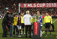 Mayor of Toronto at coin toss at MLS Cup 2010 at BMO Stadium in Toronto, Ontario on November 21 2010. Colorado won 2-1 in overtime.