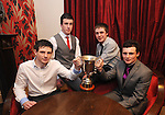 Conor O' Halloran, Dara Walsh, Martin Darcy and Evan Courtney pictured during Éire Óg GAA's medal presentation night at the Auburn Lodge Hotel in Ennis. Photograph by Declan Monaghan