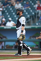 Charlotte Knights catcher Nate Nolan (9) on defense against the Toledo Mud Hens at BB&T BallPark on April 25, 2019 in Charlotte, North Carolina. The Mud Hens defeated the Knights 11-7. (Brian Westerholt/Four Seam Images)