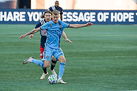 FOXBOROUGH, MA - SEPTEMBER 19: Keaton Parks #55 of New York City FC passes the ball during a game between New York City FC and New England Revolution at Gillette on September 19, 2020 in Foxborough, Massachusetts.