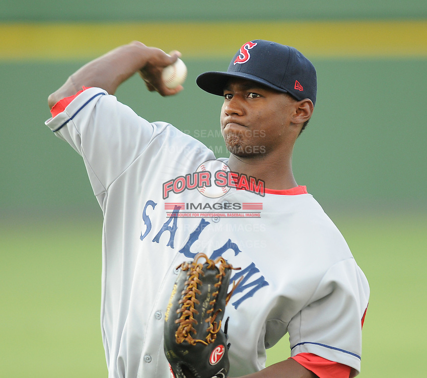 Outfielder Wilfred Pichardo (28) of the Salem Red Sox, Carolina League affiliate of the Boston Red Sox, prior to a game against the Potomac Nationals on June 16, 2011, at Pfitzner Stadium in Woodbridge, Va. (Tom Priddy/Four Seam Images)