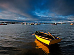 Colorful wooden boats, Chiloe Island, Chile, South America