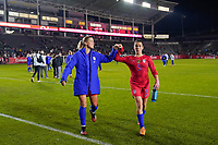 CARSON, CA - FEBRUARY 7: Abby Dahlkemper #7 of the United States celebrates with Kelley O'Hara #5 during a game between Mexico and USWNT at Dignity Health Sports Park on February 7, 2020 in Carson, California.