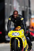 Oct. 29, 2011; Las Vegas, NV, USA: NHRA pro stock motorcycle rider Michael Phillips during qualifying for the Big O Tires Nationals at The Strip at Las Vegas Motor Speedway. Mandatory Credit: Mark J. Rebilas-