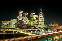 Toronto, Canada, Ontario, Skyline of downtown Toronto along Gardiner expressway in the evening.