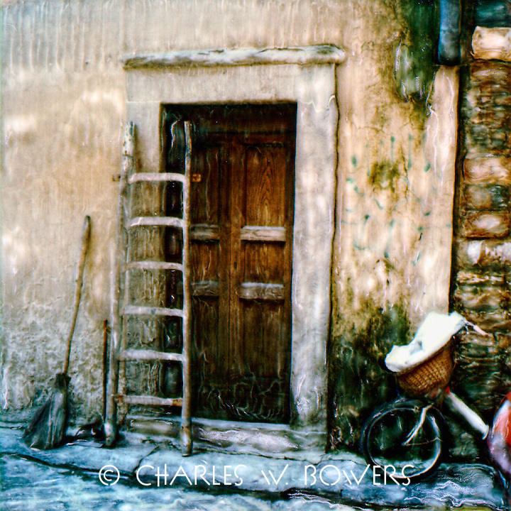 The villager brought his tools for today's work - the ladder and the broom. The daughter will ride her tricycle while dad works.<br /> <br /> -Limited Edition of 50 Prints