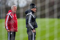 Tuesday 19 April 2016<br /> Pictured: Alan Curtis, First-team coach of Swansea City nd Francesco Guidolin, Manager of Swansea City  during training<br /> Re: Swansea City Training Session ahead of the away game against Leicester City FC