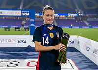 ORLANDO, FL - FEBRUARY 24: Emily Sonnett #14 of the USWNT poses with the SheBelieves Cup during a game between Argentina and USWNT at Exploria Stadium on February 24, 2021 in Orlando, Florida.