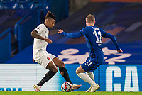 4th November 2020, Stamford Bridge, London, England;  Chelseas Timo Werner is fouled by Rennes Dalbert leading to a penalty during the UEFA Champions League Group E match between Chelsea and Rennes at Stamford Bridge